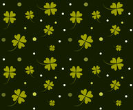 St. Patrick`s day background. Four leaf clover seamless texture. Symbol of luck, green shamrock backdrop Royalty Free Stock Image