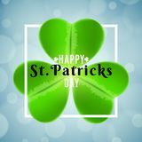 St Patrick`s Day background. Frame banner with clover and text. Abstract lights bokeh. Greeting card. Vector illustration. EPS 10 vector illustration