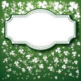 St. Patrick's Day Background with frame, lights and clover leave Royalty Free Stock Images