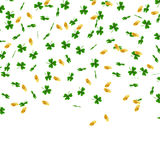 St. Patrick s Day background. Green leaves clover and gold coins fall on white background. Traditional Irish symbols of. Good luck and success. Vector Royalty Free Stock Images