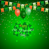 St. Patrick`s Day background,Green shamrock with bunting balloon and confetti Royalty Free Stock Photography