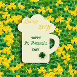 St. Patrick`s Day background with a green shamrock clover with a festive inscription on a mug with ale. Holiday 3d icon. Vector i. Llustration. A symbol of Stock Photography