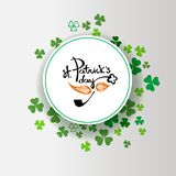 St Patrick`s Day background. Ireland poster design with shamrock. Green clover border and round frame for spring concept isolated on white. Irish doodle logo vector illustration