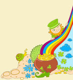 St Patrick's Day background with leprechaun Stock Images