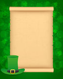 St Patricks day background with parchment Stock Photos