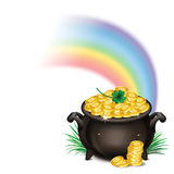 St.Patrick's Day background with Pot Of Gold, Magical Treasure, Stock Photography
