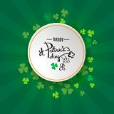 St Patrick`s Day background. Retro poster design with shamrock Ireland symbol. Green clover border and round frame for spring con. Cept. Irish doodle logo header vector illustration