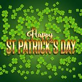 St Patrick`s Day background with shamrock and metallic gold text. St Patrick`s Day background with lots of shamrock and metallic gold text vector illustration