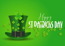 St Patrick`s Day background with top hat and shamrock. St Patrick`s Day background with a top hat and shamrock stock illustration