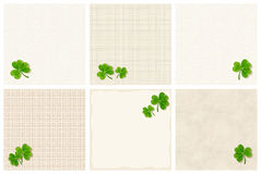St. Patrick`s day backgrounds with shamrock leaves. Vector eps-10. Set of vector St. Patrick`s day textured backgrounds with shamrock leaves vector illustration