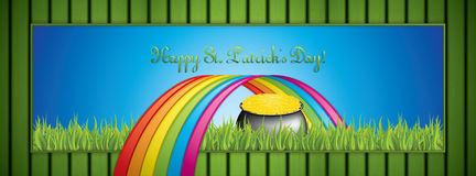 St. Patrick`s Day banner. With pot of gold and rainbow.Vector Royalty Free Stock Photo