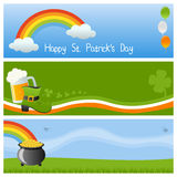 St. Patrick s Day Banners [3]. Set of three horizontal St. Patricks or Saint Patrick s Day banners. Eps file available stock illustration