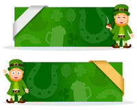 St. Patrick s Day Banners with Leprechaun. Two green St. Patricks or Saint Patrick s Day banners with a cute cartoon leprechaun character smiling and greeting Stock Photos