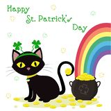 St.Patrick s Day. Black cat in the bezel with clover, bowler with gold coins, rainbow, clover. Cartoon style, flat design. Vector. Illustration royalty free illustration