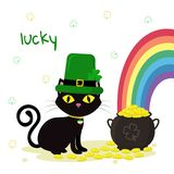 St.Patrick s Day. Black cat in green caps leprechaun, bowler with gold coins, rainbow, clover. Cartoon style, flat design. Vector. Illustration vector illustration
