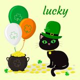 St.Patrick s Day. A black cat in a green hat of a leprechaun, a pot of gold coins, three balloons, a clover. Cartoon style, flat