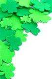 St Patrick's Day border. Of clover leaf shapes over white Royalty Free Stock Image