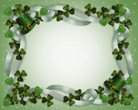 St Patrick's Day Border. 3D Illustration for St Patricks Day Card, invitation background, Irish wedding border or invitation with ribbons, shamrocks, green hats Stock Image