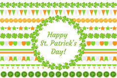 St. Patrick`s Day border garland with clover, shamrock, flags, bunting. Isolated on white background. Vector. Illustration, clip art stock illustration