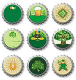 St. Patrick's Day bottle caps Stock Photography