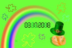 3.17.2018 St Patrick's day button, calendar, date,Vector. 3.17.2018 St Patrick's day calendar date Vector march, number Royalty Free Stock Photos