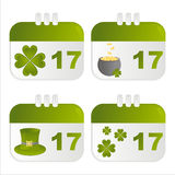 St. patrick's day calendar icons. Set of 4 st. patrick's day calendar icons Royalty Free Stock Photos