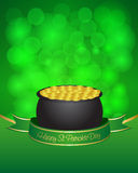 St. Patrick's day card. With pot on green background Stock Image