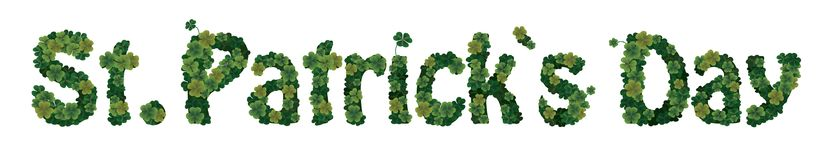 St. patrick`s day card. Clover font. Royalty Free Stock Images