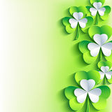 St. Patrick's day card with gray, green leaf clover Royalty Free Stock Photography