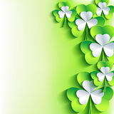 St. Patrick's day card with green and grey leaf clover Royalty Free Stock Photography