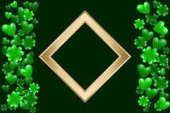 Green hearts, clovers and golden frame with space for text. Vector illustration for Saint Patrick Day Greeting Card. St Patrick`s day card. Green hearts, clovers Stock Photo
