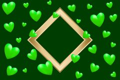 Green hearts and golden frame with space for text. Vector illustration for Saint Patrick Day Greeting Card. St Patrick`s day card. Green hearts and golden frame Royalty Free Stock Images