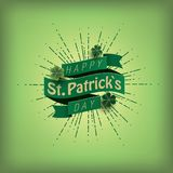 St. patrick`s day card. Green ribbon with text Stock Photo