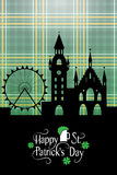 St. Patrick's Day card with Irish landscape and typography Royalty Free Stock Images