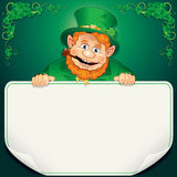 St. Patrick's Day Card. Leprechaun with Blank Sign Royalty Free Stock Images