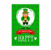 St. Patrick`s Day card. leprechaun with a pot of gold Stock Photography