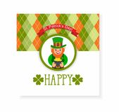 St. Patrick's Day card. leprechaun with a pot of gold Stock Images