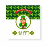 St. Patrick's Day card. leprechaun with a pot of gold Royalty Free Stock Photo