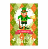St. Patrick's Day card. Leprechaun with a stick, smoking pipe and a glass of beer Royalty Free Stock Images