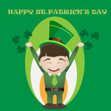 St.Patrick's day card with man in traditional green suit. Stock Photos