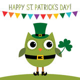 St. Patrick`s Day card with an owl Stock Photo