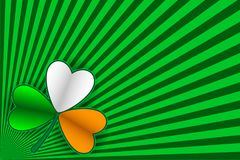 Striped background and shamrock. Vector illustration for Saint Patrick Day Greeting Card. St Patrick`s day card. Striped background and shamrock in color of Stock Photos