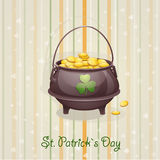 St. Patrick's Day card to the casserole with the gold-EPS10. St. Patrick's Day card to the casserole with the gold Royalty Free Stock Photos