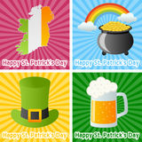 St. Patrick s Day Cards. Collection of four colorful St. Patricks or Saint Patrick s Day greetings cards. Eps file available Royalty Free Stock Images