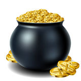 St Patricks day cauldron. Full with gold Stock Image