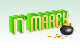 St. Patricks Day celebration with 3D text and earthenware. 3D text 17th March with glossy earthenware full of gold coins for Happy St. Patricks Day celebration Royalty Free Stock Photography