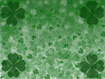 St. St. Patrick`s Day celebration greeting card with four-leaf clover. St. Patrick`s Day Illustration with many cloves royalty free illustration