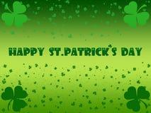 St. Patrick`s Day celebration greeting card with leaf clover. St. Patrick`s Day Illustration with many cloves royalty free illustration