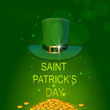 St. Patricks Day celebration with hat and gold coins. Stock Image