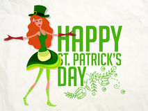 St. Patrick's Day celebration with Leprechaun girl. Stock Photo